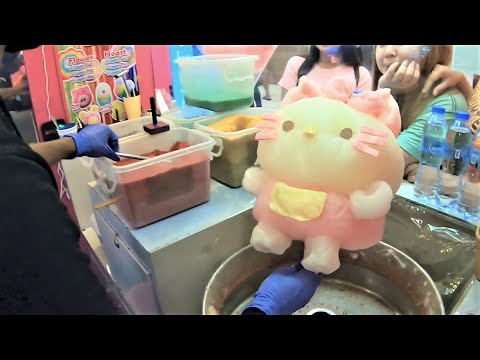 COTTON CANDY ART | Hello Kitty and Peppa Pig - Who will you choose? | Street Food Philippines