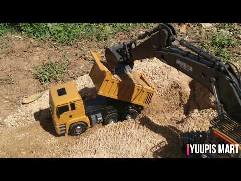 Huina 1332 Dump Truck Scale 1:18 load by Huina 1592 performance test.