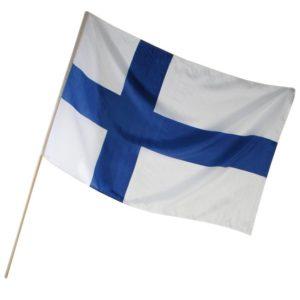Kankainen Suomen lippu kahvalla 30 x 45 cm, 5 kpl