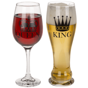 King & Queen oluttuoppi- ja viinilasisetti hallitsijapariskunnalle