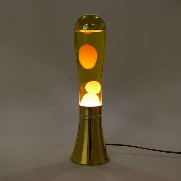 Alumiininen design -laavalamppu, kullanvärinen magma